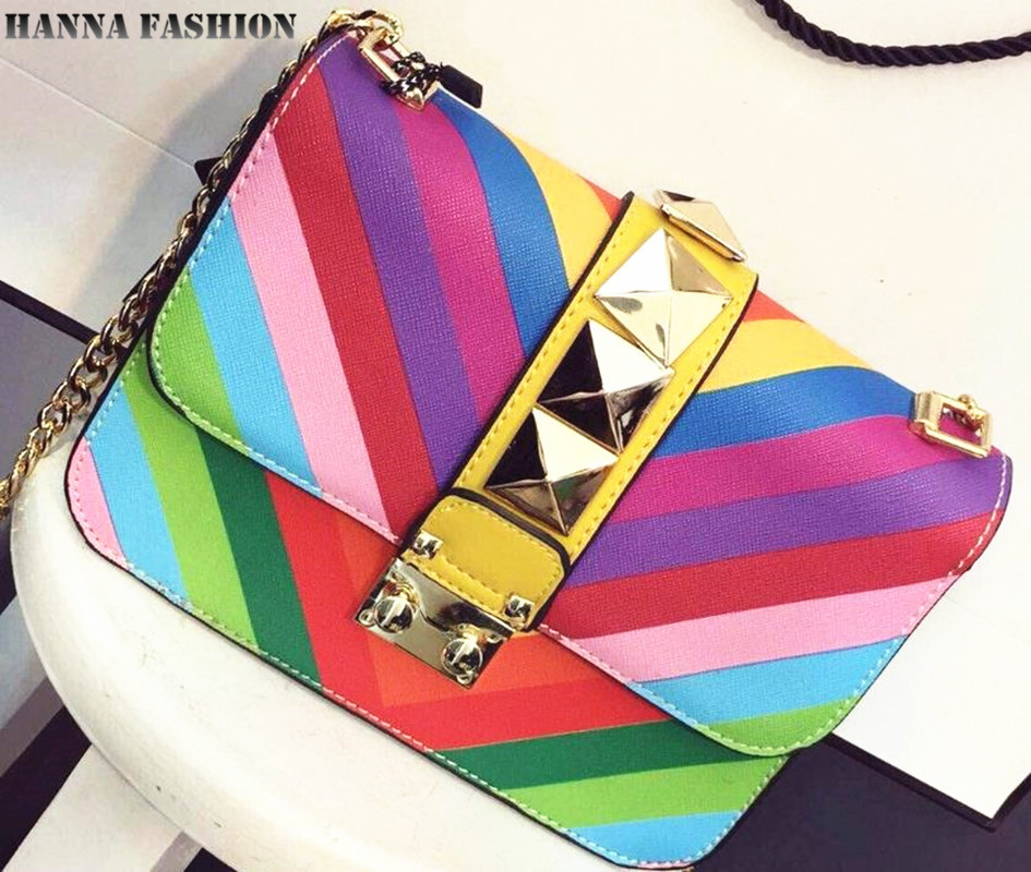 2015 spring New!Women Rainbow Color bag Ladies Rivet leather Crossbody Shoulder bag Mini Party bags High quality Messenger bag(China (Mainland))