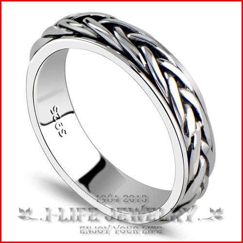 2014 Fashion 925 Sterling Silver Punk Retro Woven Rotatable Sapphire Engageme