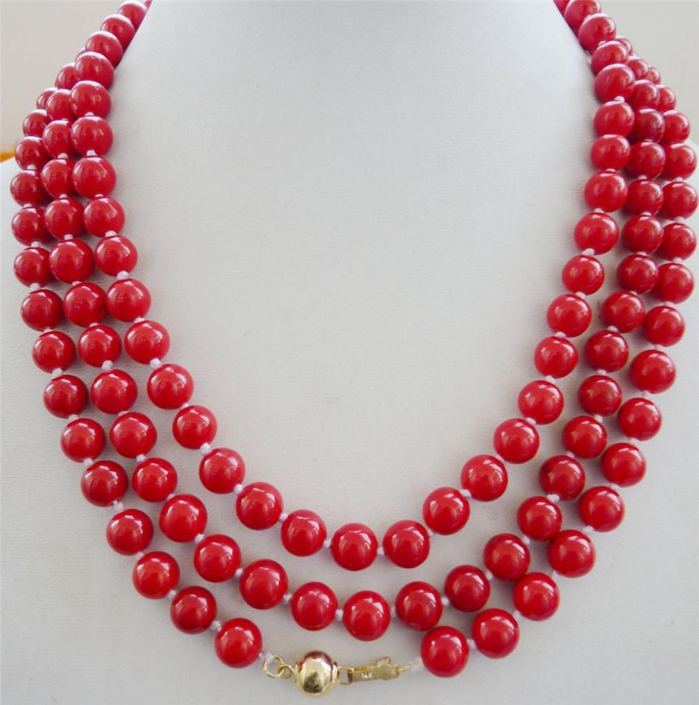 natural 8mm red coral necklace 48 14K Solid Gold Clasp LL009^^^@^Noble style Natural Fine jewe FREE SHIPPING<br><br>Aliexpress