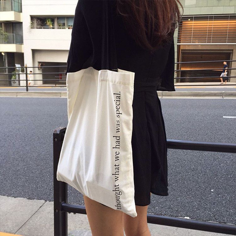 """Word """"I thought what we had was specail"""" Printing Simple Casual Tote Canvas Women Bags Art Fresh Style Single Shoulder Bag GK13(China (Mainland))"""
