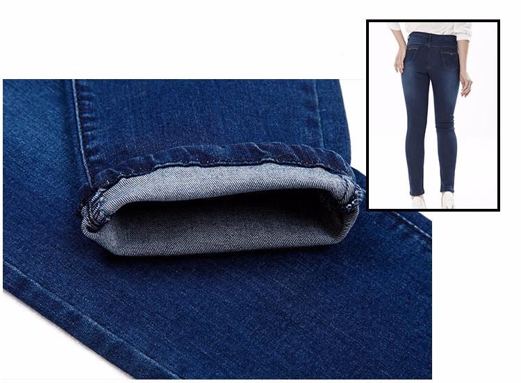 Скидки на Женщины тонкий джинсы леди середины талии синий упругие карандаш брюки узкие джинсы женские джинсовые брюки 2016 осень джинсы узкие брюки 9522