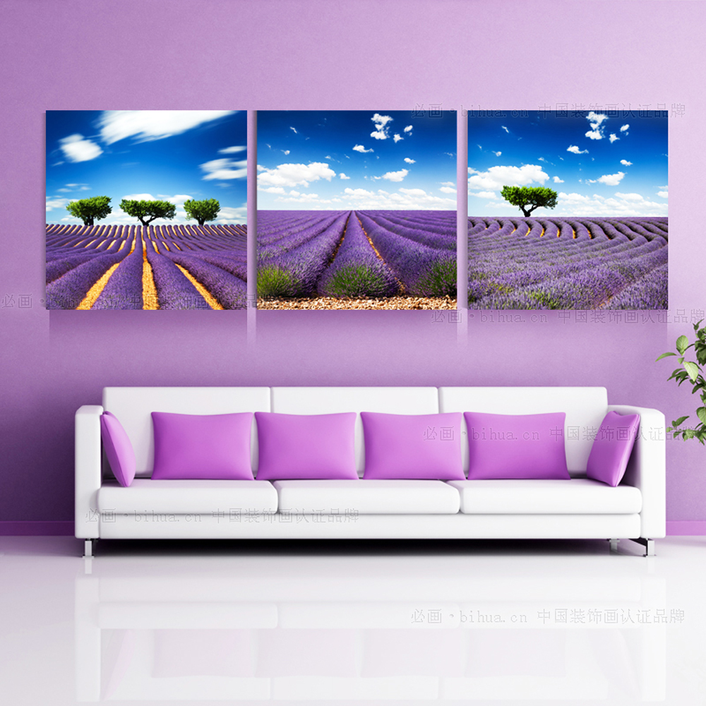 3 piece large modern beautiful purple flower lavender for Buy large canvas prints