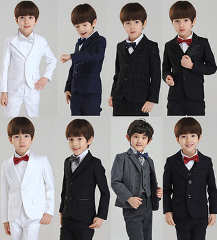 Fashion kids baby boy blazers suits casual black white blue yellow plaid costume party prom wedding formal clothing child outfit(China (Mainland))