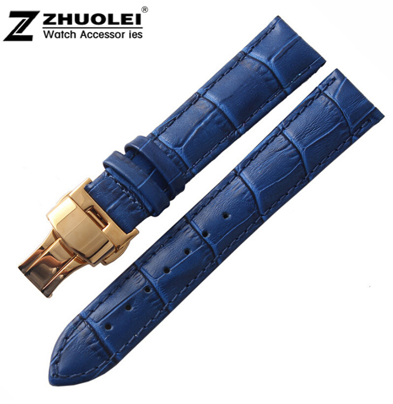 16mm 18mm 20mm New Bule Alligator Grain Genuine Leather Watch Band Strap Bracelets Gold Butterfly Buckle Clasp Free Shipping<br><br>Aliexpress
