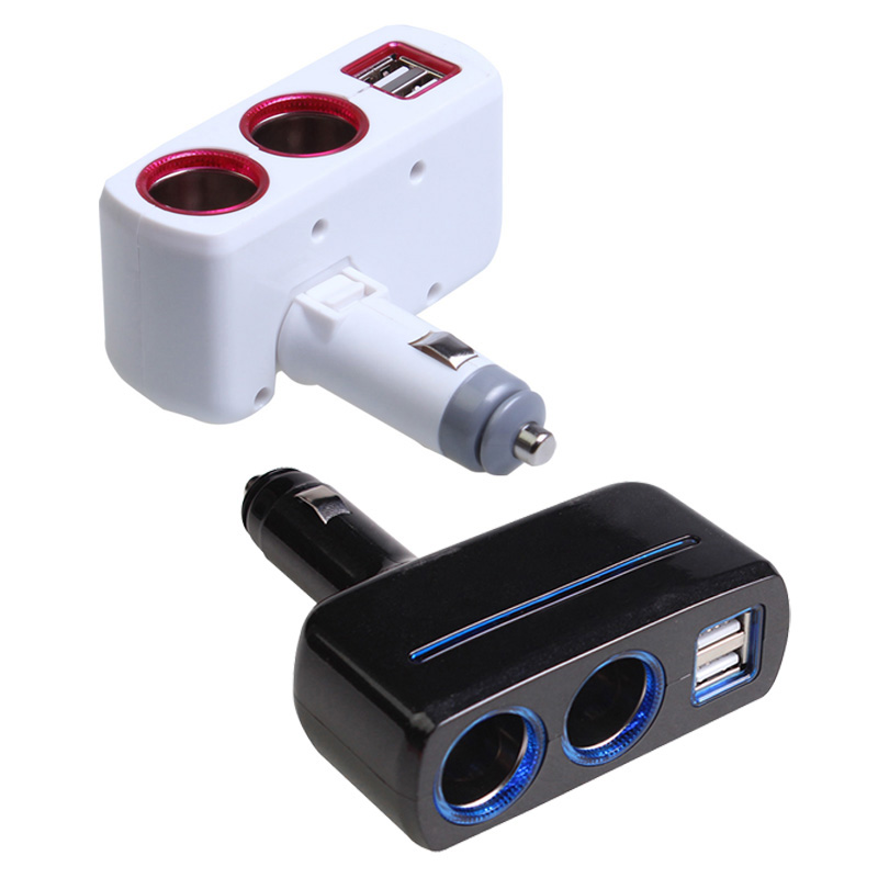 2 Ways Car Cigarette Lighter Socket Splitter Power Adapter 2.1A / 1.0A 80W + Dual USB Charger Socket(China (Mainland))
