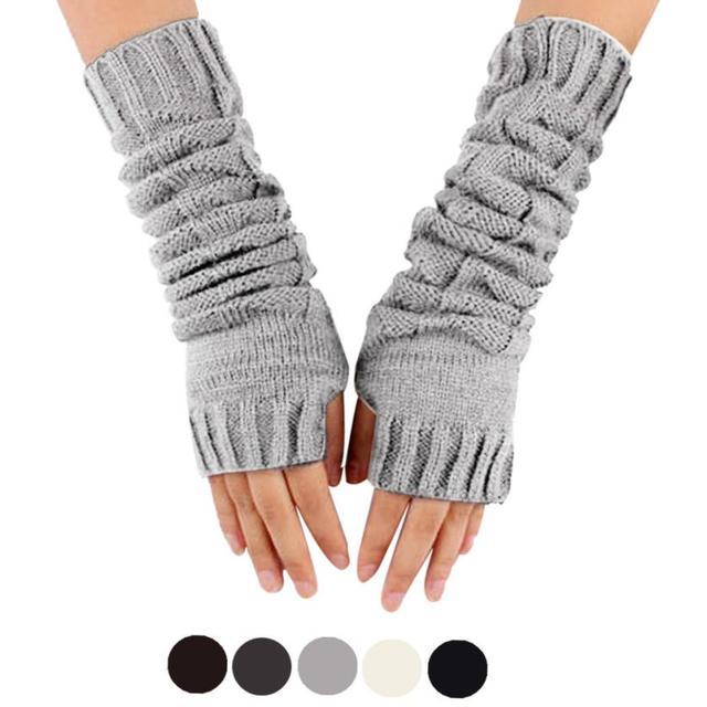 Ladies Mittens Knitting Pattern : Womens Winter Knitting Mittens Women Fingerless Arm Warmer sleeve Winter...
