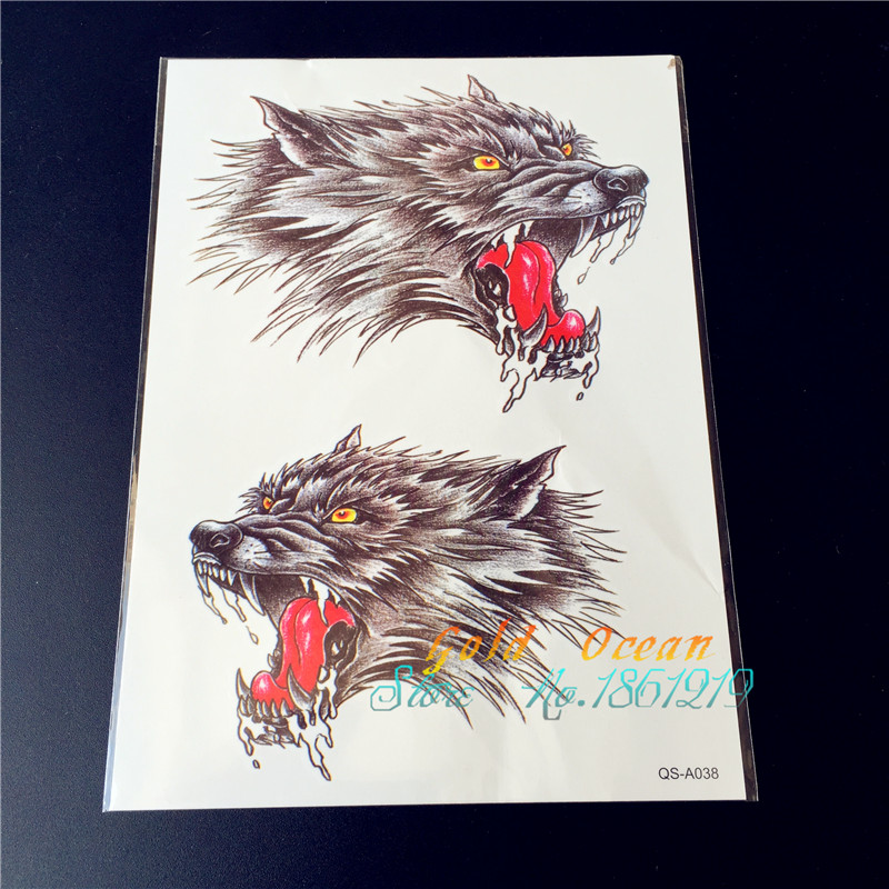1PC Large 3D Wolf Tattoo Stickers For Men GQS-A038 15*21CM Big Evil Eye Wolves Monster Arm Tattoo Body Art Women Free Shipping(China (Mainland))