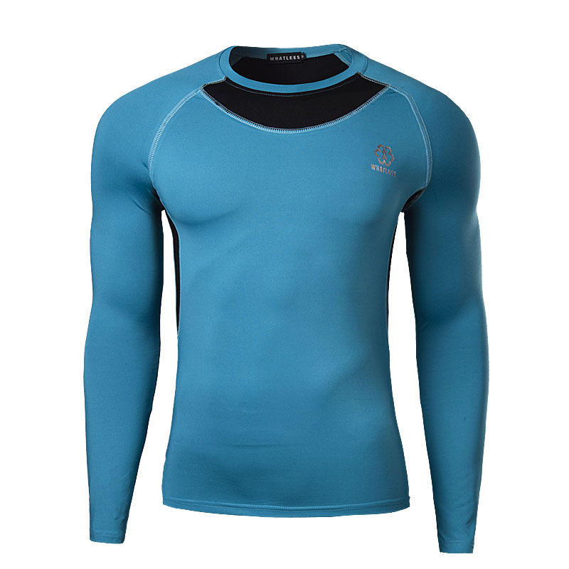 Newest Fitness Men Long Sleeve Basketball Running Sports T Shirt Men Thermal Muscle Bodybuilding Gym Compression Tights Shirt(China (Mainland))