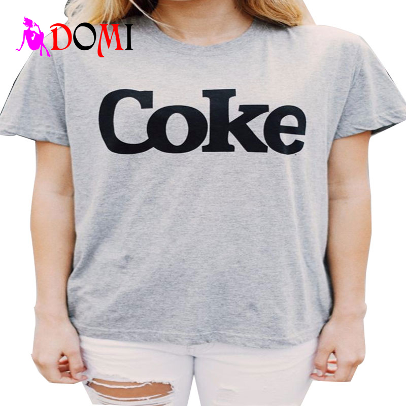 Hot COKE letters printed T-shirt European and American personality tide of street English short-sleeved T-shirt(China (Mainland))