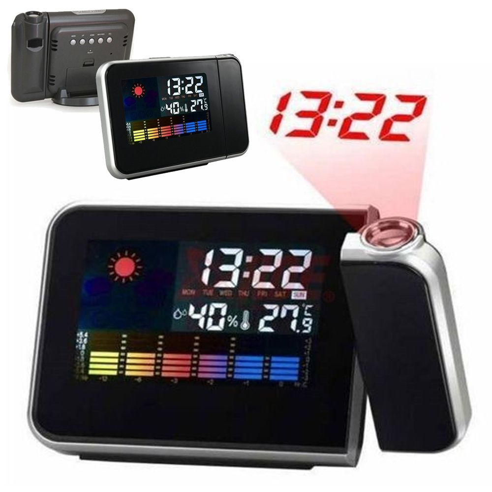 LCD Snooze Alarm Clock Projection Digital Weather Projector Color Display LED Backlight Thermometer Weather Forecast A5USSY0024(China (Mainland))