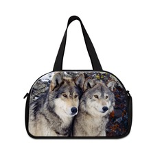 Hot Sell best duffle bag wolf printed tote travel bag with compartments weekend bags for men Animal shoulder duffle bags for boy(China (Mainland))