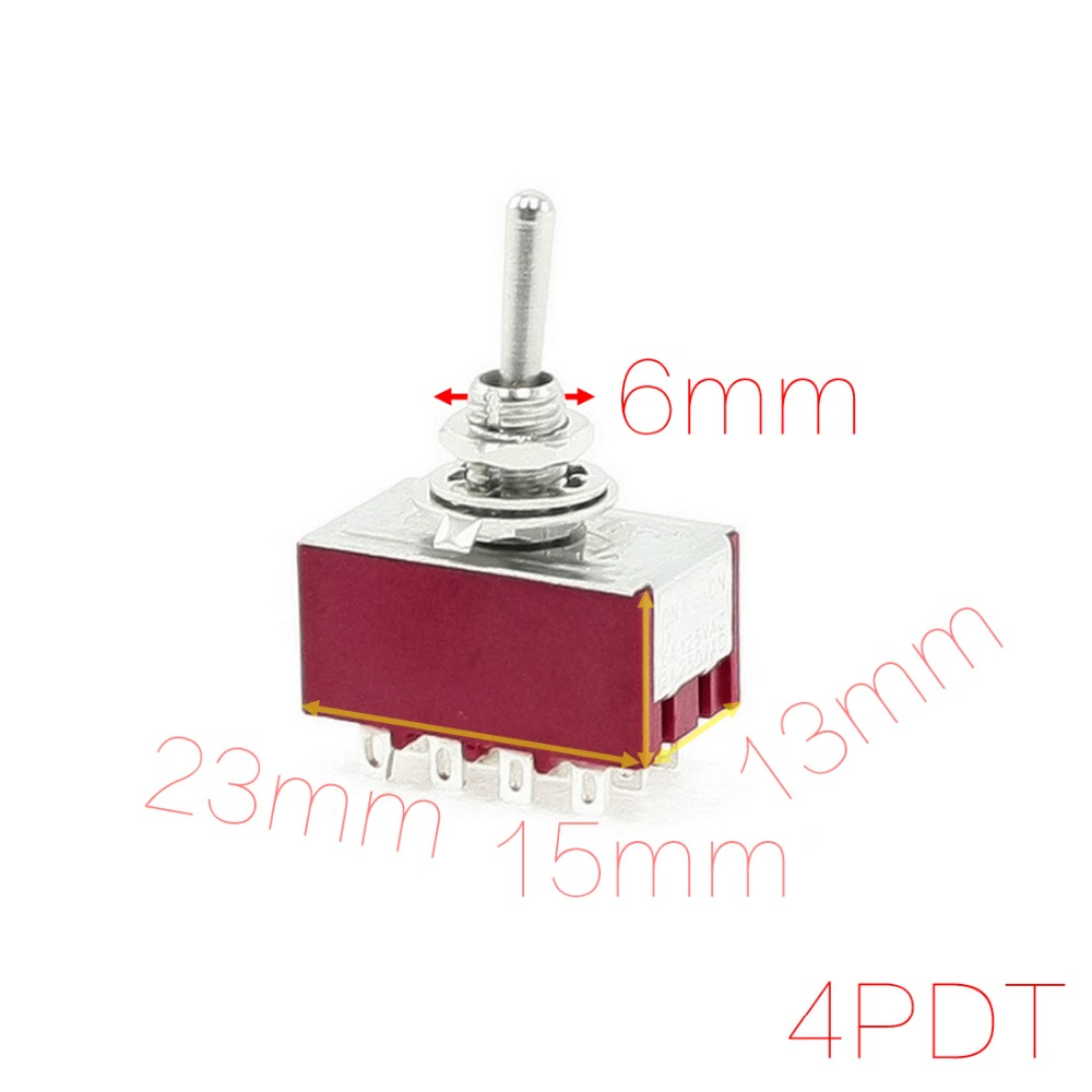 Diameter 6mm 6A/125VAC 2A/250VAC 12 Pin 4PDT ON/ON 2 Position Mini MTS-402 Toggle Switch Discount 50 23mm x 13mm x 15mm (L*W*H)(China (Mainland))