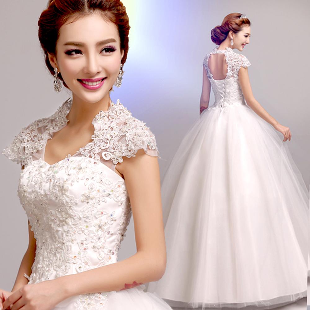 Vestido De Noiva new 2016 White Sexy deep V neck lace princess wedding dress crystal Lace Bridal Gowns 5529(China (Mainland))