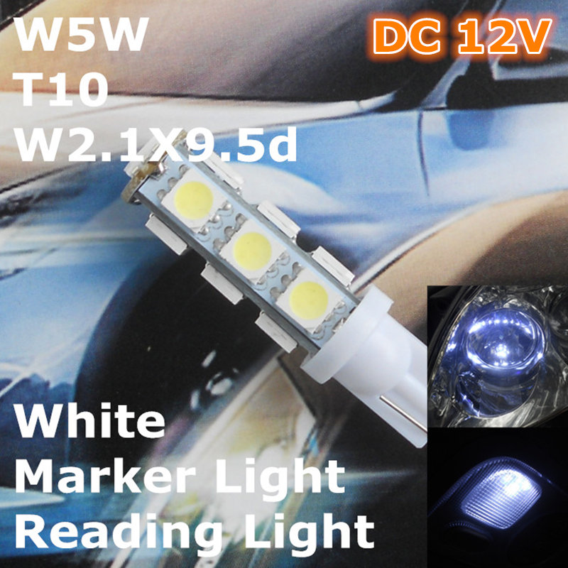 Stock Shipping New 12V CE White Color LED Car Spare Lamp T10(13*5050 SMD)W5W W2.1X9.5d for Signal Top Reading Width Light(China (Mainland))