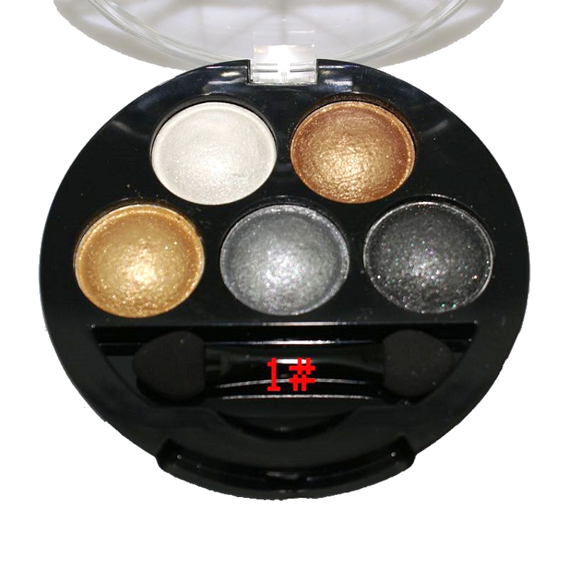 1PCS Pigment Makeup Eyeshadow Palette 5 Colors Eye Shadow Palette Powder Metallic Shimmer Warm Color Make Up Palette(China (Mainland))