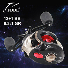 FDDL Right-hand Fishing Reels 12+1BB Ball Bearing 6.3:1 Gear Ratio Metal Water Drop Wheel Bait Casting Reel