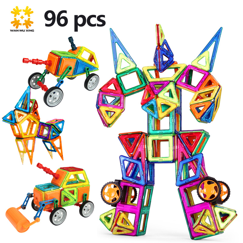 Medium Sizes Magnetic Blocks Magnetic Designer 96 Pcs/Set Kid Toys 3D Model DIY Building Blocks Creative Bricks Educational Toy(China (Mainland))