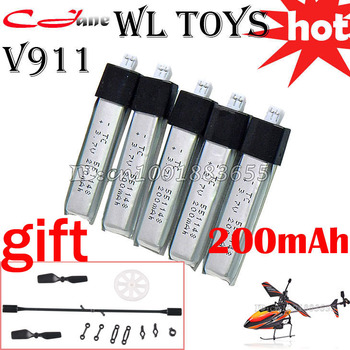 Wholesale/special offer upgraded WL V911 new version Plug RC Helicopter parts 3.7V 200mAh battery 1 lot=5 pcs for WL  Toys