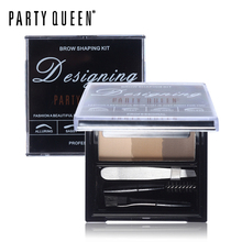 Party Queen 3 Colors Eyebrow Enhancer Sharping Kit With A Mini Tweezer & Brow Brush Comb Makeup Multi-Function Eyebrow Palette(China (Mainland))
