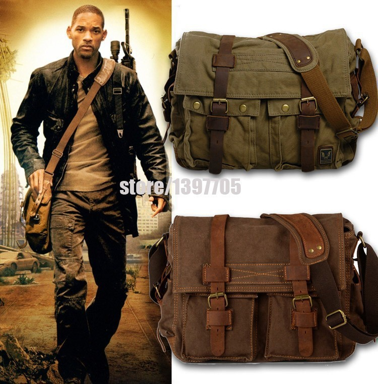 HOT Canvas crossbody bag men I AM LEGEND Will Smith military army vintage Canvas messenger bags