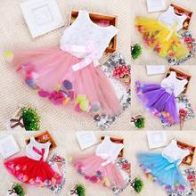 Da criança Do Bebê Das Meninas do Miúdo Princesa Partido Tutu Vestido de Renda Arco Vestidos de Flores Criança Roupas