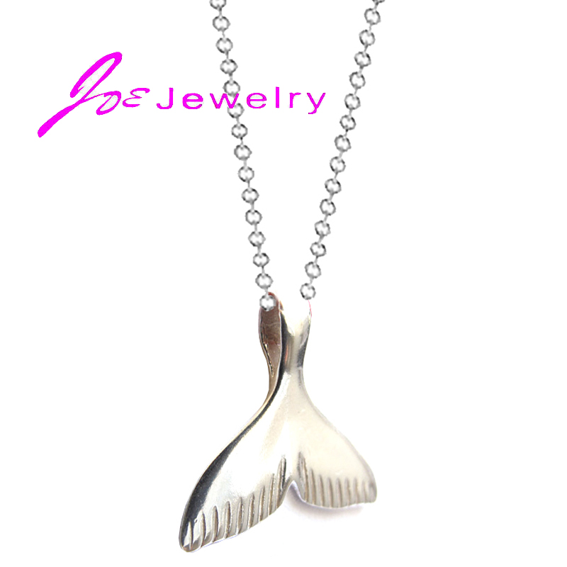 Silver Dainty Mermaid Tail Necklace Sailor Jewelry Whale