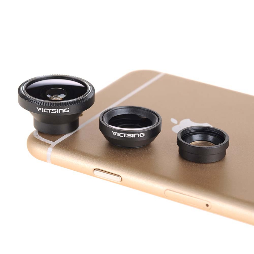 VicTsing Magnetic Detachable Fisheye Lens Wide Angle Micro Lens 3-in-1 Kit with Flat Camara for iPhone 6s Plus 6s Samsung Sony(China (Mainland))