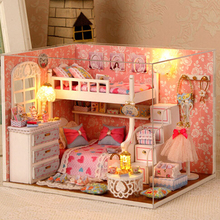 DIY Wooden Miniature DollHouse Furniture Toy Kids Creative Puzzle Furniture Model Children`s Christmas Gifts Birthday gifts(China (Mainland))