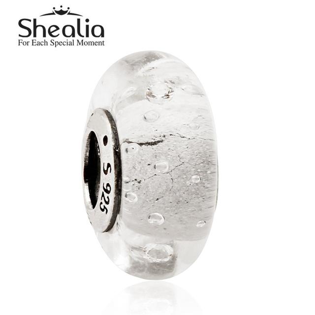 2015 новый стерлингового серебра 925 белый fizzle муранского стекла бусины подходит известный бренд diy шарм браслеты HT225