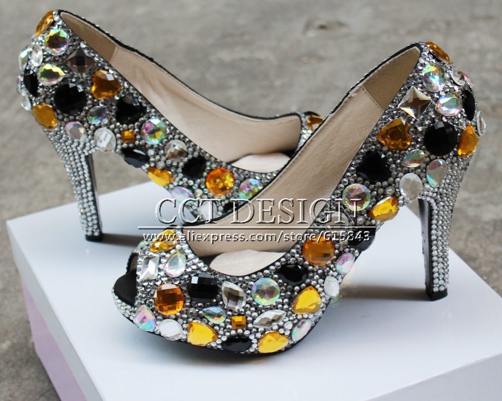 sexy women low high heeled silver and black diamond peeptoe wedding shoes crystal evening party high heels<br><br>Aliexpress