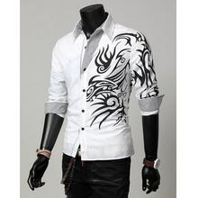 New Arrival 2015 Zanzea Men Fashion Clothes Male Slim Long Sleeve Dress Shirt Dragon Tattoo Printed Leisure Camisa 4 Colors S-XL