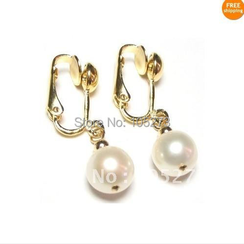 New Arrive Chirstmas Jewelry ! Charming AA 8-9MM Genuine White Pearl 14k-20 Clip On Earrings Fashion Party Wedding Earrings<br><br>Aliexpress