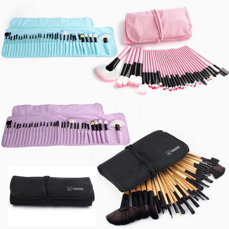 VANDER 32 unid Fundación Pinceles de Maquillaje Pro Set de Cepillo Cosmético Ceja Delineador de Labios sombras Kabuki Maquillaje Herramientas Kits y Bolsa bolsa(China (Mainland))