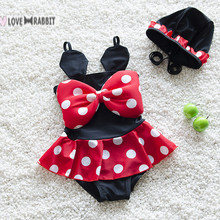 For 2-8 year New Minnie Mouse Bikini Swimwear Printing Cartoon Kawaii Swimsuit Girls One-pieces Child Bathing Suit Free Shipping