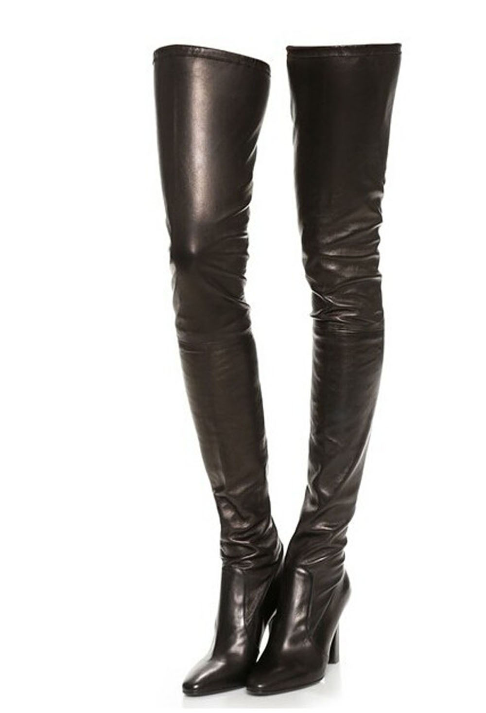 New Arrival High Quality Leather Pointed Toe Long Boots Sexy Over The Knee Thick Heel Boots Winter Thigh High Black Boots Women(China (Mainland))