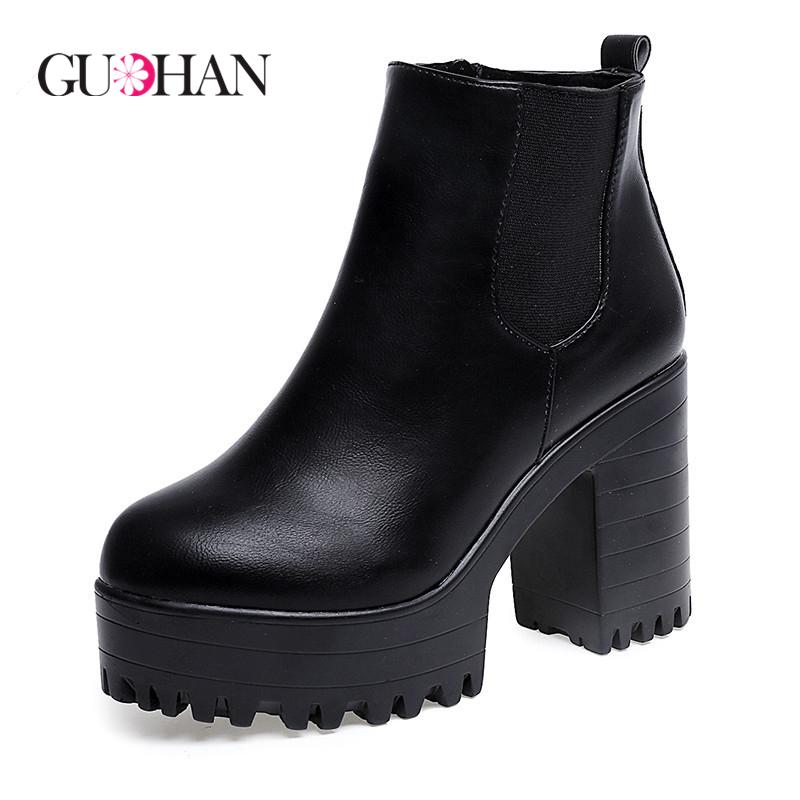 2015 New Fashion Women Boots Platform High Heel Ankle Boots PU Leather Boots Fashion Women Pumps