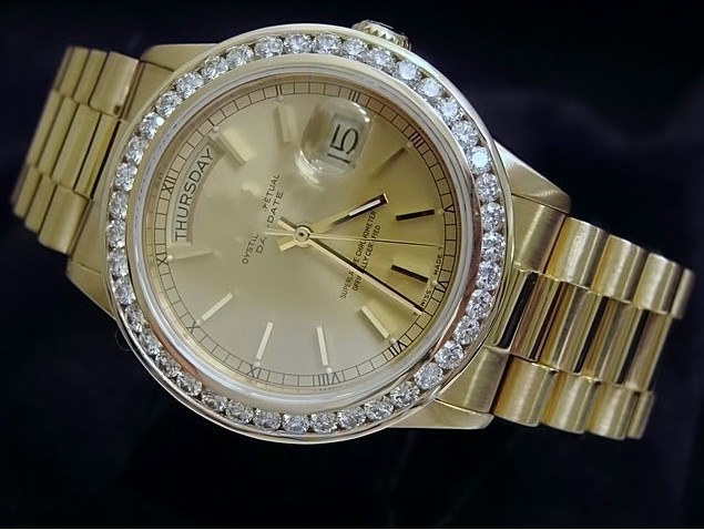 mens 18k gold day date president w diamonds 01 s