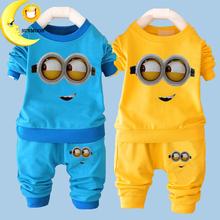 2016 New baby boy clothes sets cartoon casual kids minions suits infant girl children clothing set 2pcs T shirt+pants(China (Mainland))