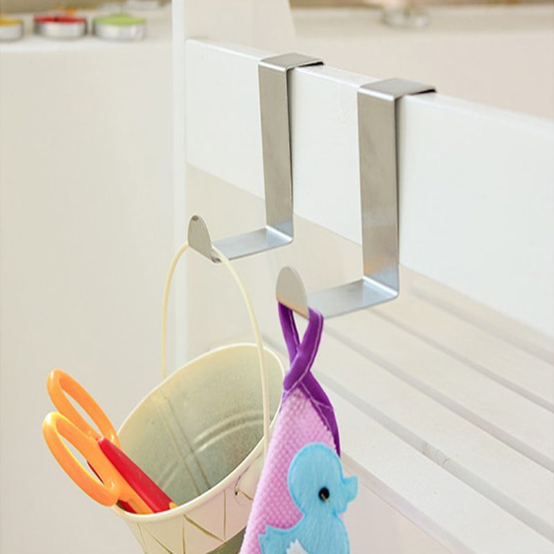 2Pcs Stainless Steel Kitchen Cabinet Draw Over Door Hook Clothes Hanger Holder New(China (Mainland))