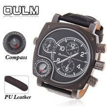 Oulm 9526 marca multifunción reloj de cuero los hombres Vintage Dial grande militar truco diseño Masculino brújula termómetro