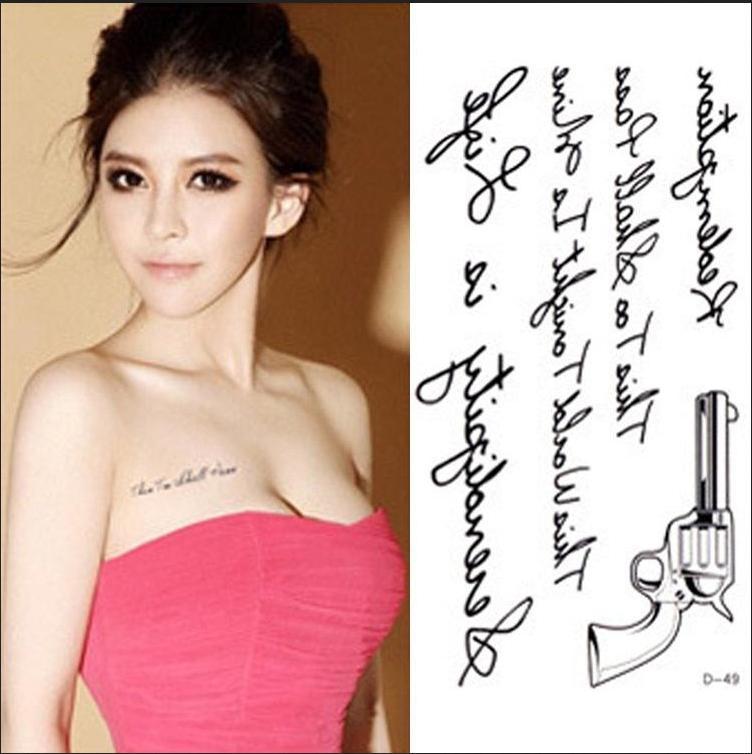 Rc2216 femmes Sexy poitrine de transfert de l'eau de tatouage autocollants imperméables tatouage temporaire autocollants lettres Gun corps Art faux tatouage(China (Mainland))