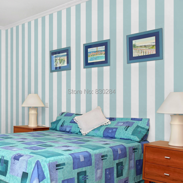 Stripe wallpaper roll white striped wall paper modern blue for Striped wallpaper bedroom designs