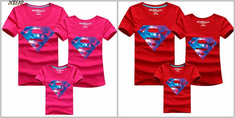 Mother's Day Gift Cool Superhero Superman Print Family Matching T Shirts Couples Casual Short Sleeve Cotton Tee Plus Size S-4XL