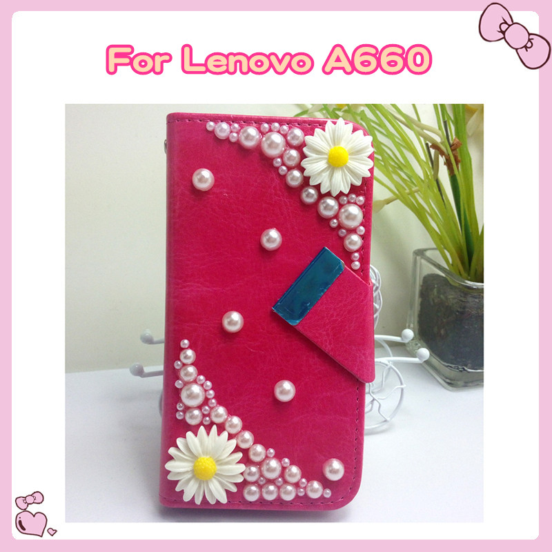 [YunJia]For Lenovo A660 Case,Fresh Daisy Flower Pearl DIY Universal Leather Case For Lenovo A660 Phone Bags + Touch Stylus Pen(China (Mainland))