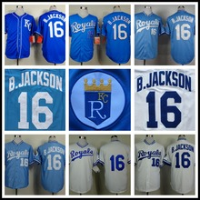 Bo Jackson Jersey Kansas City Royals 16# Throwback Baseball Jersey, Stitched Blue White High Quality(China (Mainland))