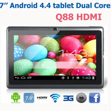 Hot Q88 pro HDMI 7 inch dual core Android 4.4 tablet pc ATM7021 Dual camera with HDMI wifi external 3G tablets for kids