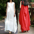 2016 women fashion Summer 100 Linen Dress Vestidos Women Party Dresses Casual Loose Sleeveless Maxi Dress