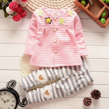 2016 Spring Autumn children clothing sets Baby girls cotton long sleeved cardigan suit kids fashion flower coat + pants 2pcs