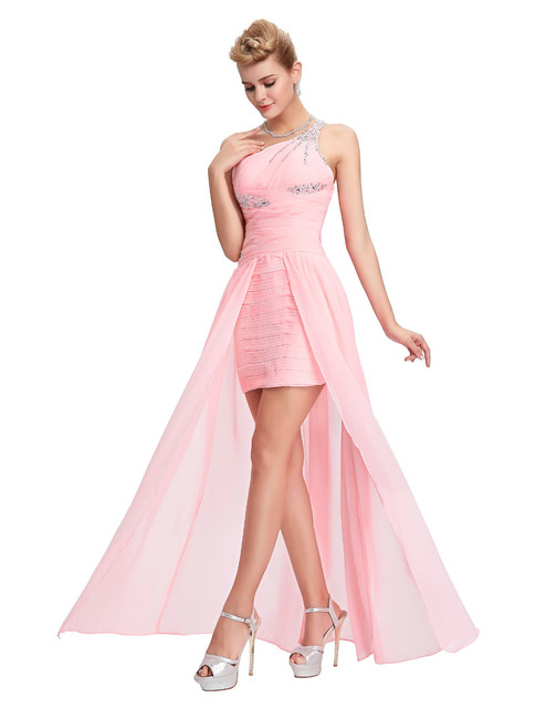 New long back short front evening dresses abendkleider 2016 Pink long evening gowns one shoulder special occasion dress cheap