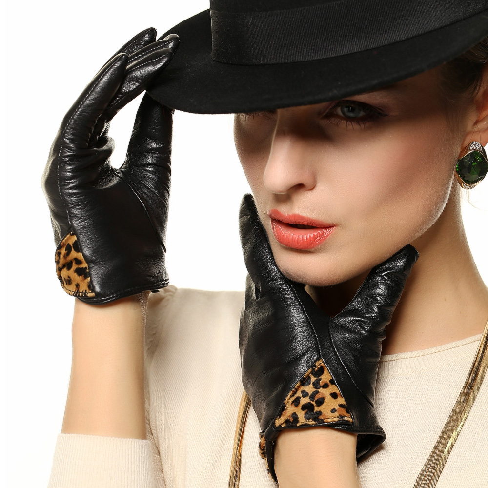 Ladies leather gloves designer - Women Leather Gloves Fashion Leopard Wrist Bowknot Genuine Lambskin Glove Winter Solid Warm Driving For Lady